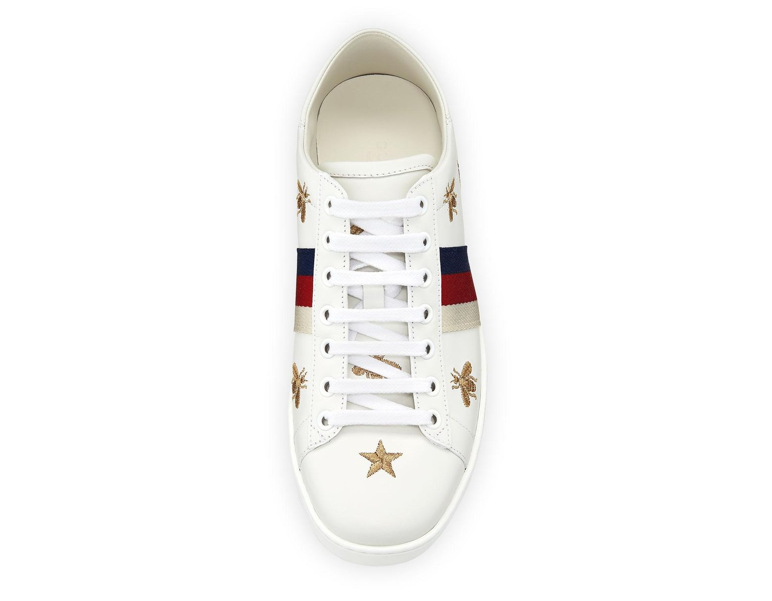 239b21044 Gucci Ace Star & Bee Fold-down Sneakers in White - Lyst