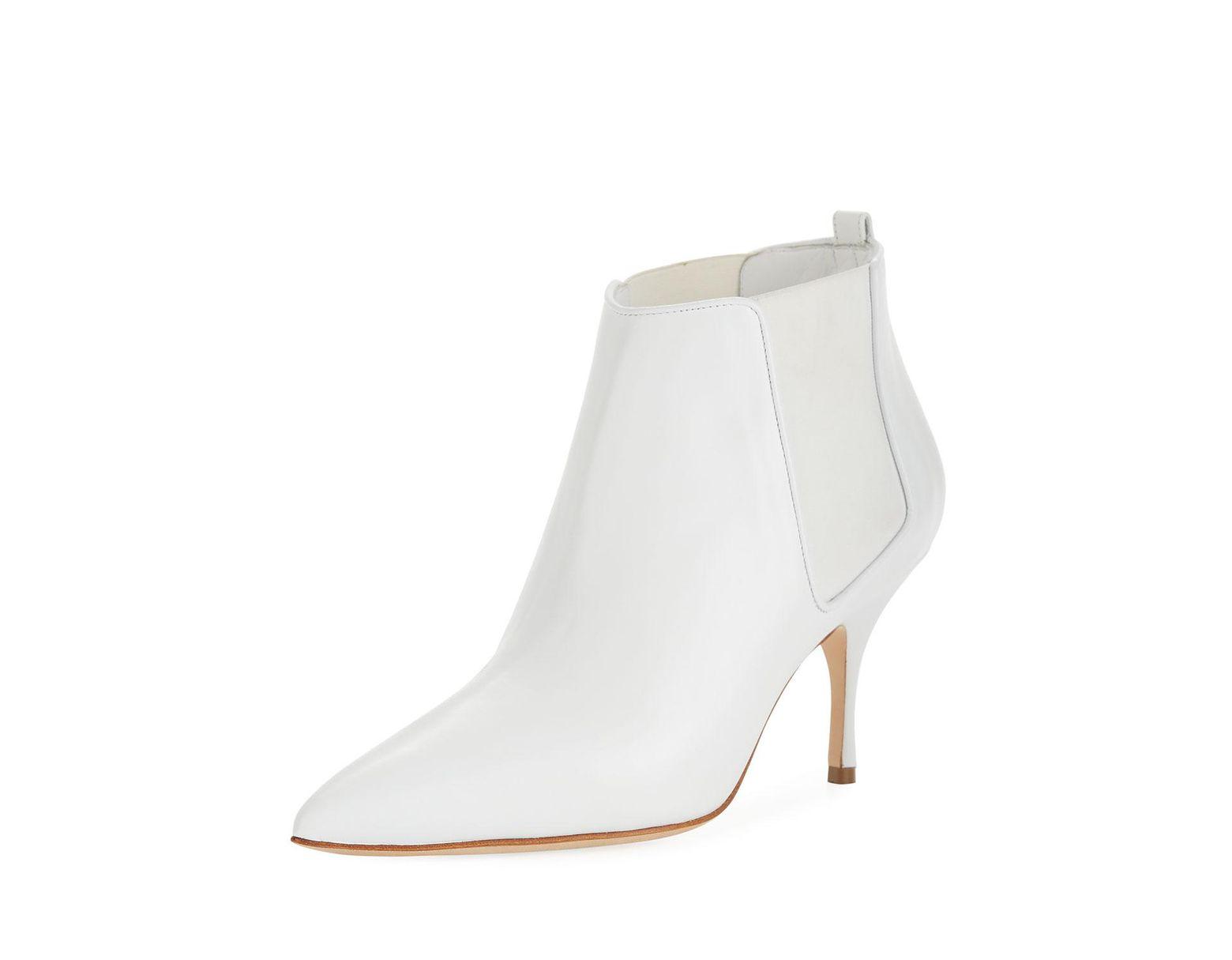c4695fb5ed546 Manolo Blahnik Dildi Leather Booties in White - Lyst