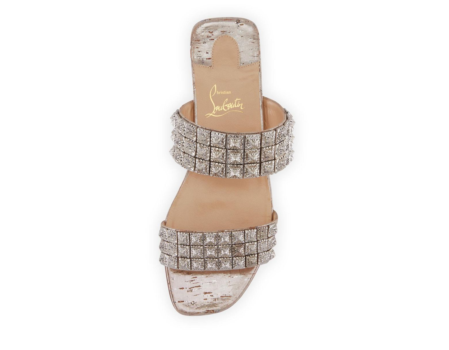 4e8880a54ed0d Christian Louboutin Myriadiam Embellished Double Strap Slides in Metallic -  Lyst