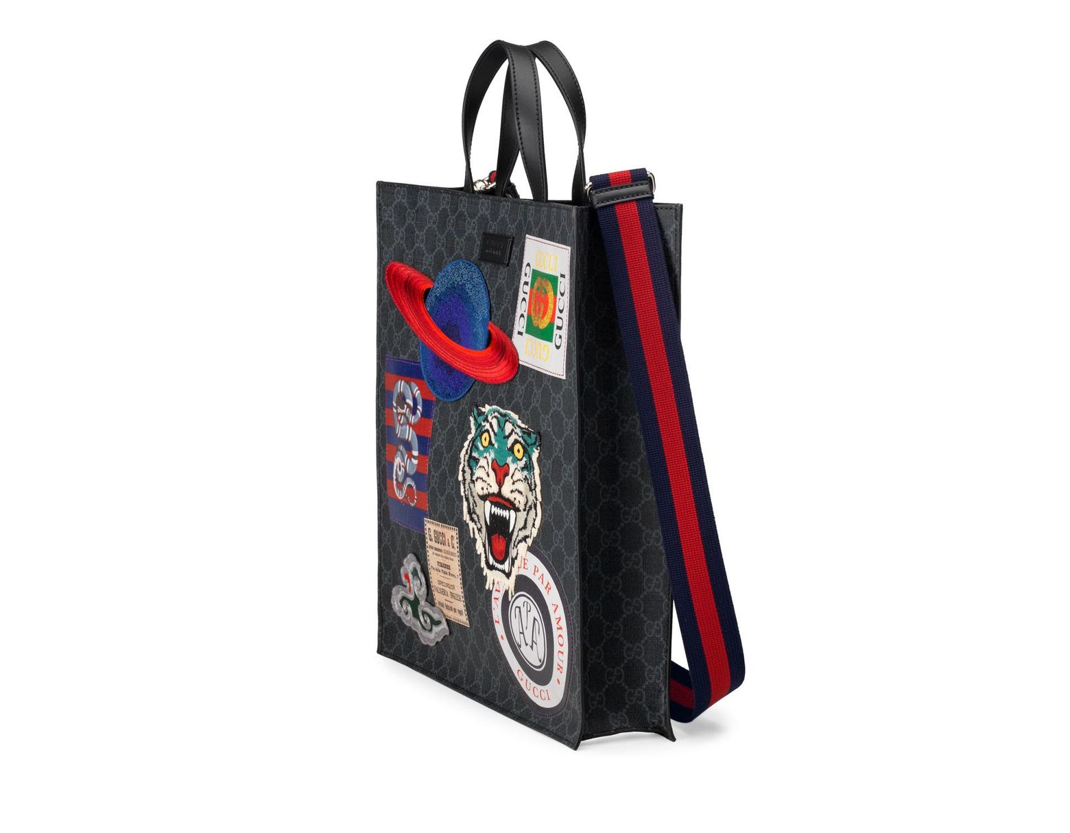 1ff899dc8b1 Lyst - Gucci Men s GG Supreme Tote Bag With Patches in Black