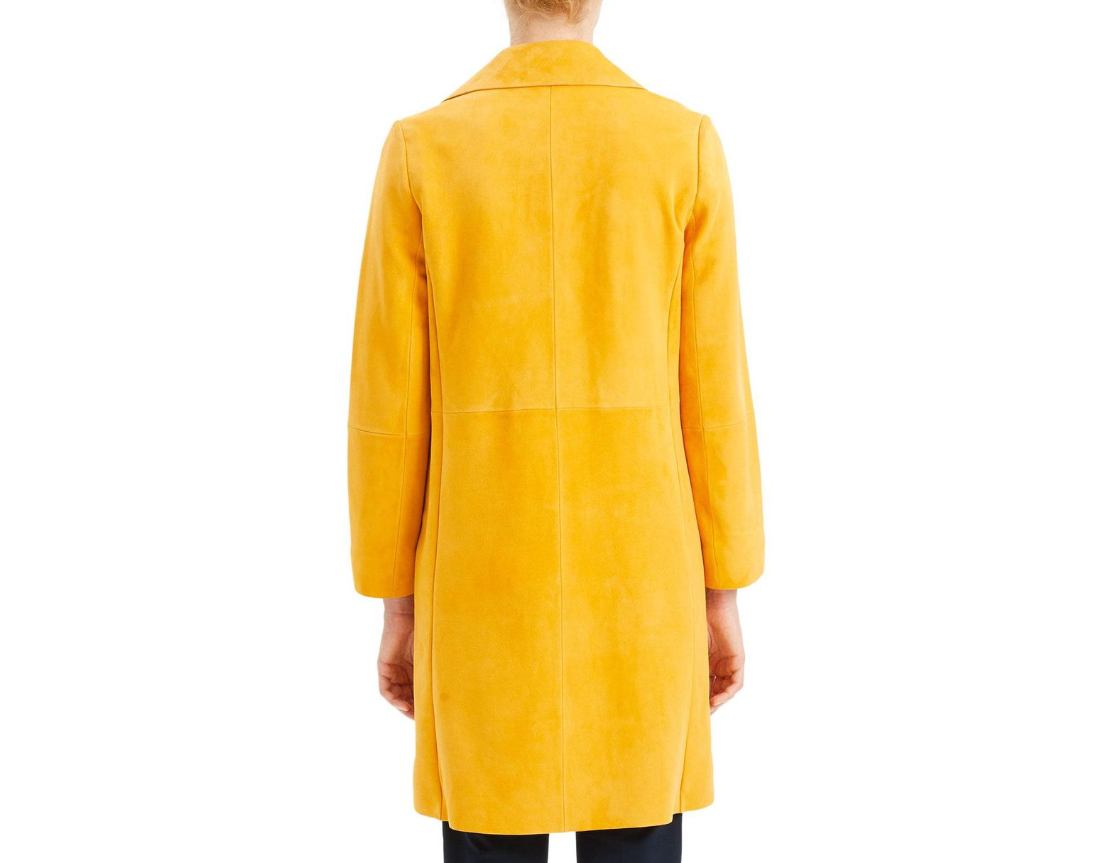 b802eac6886 Theory Piazza Suede Button-front Long Coat in Yellow - Save 85% - Lyst
