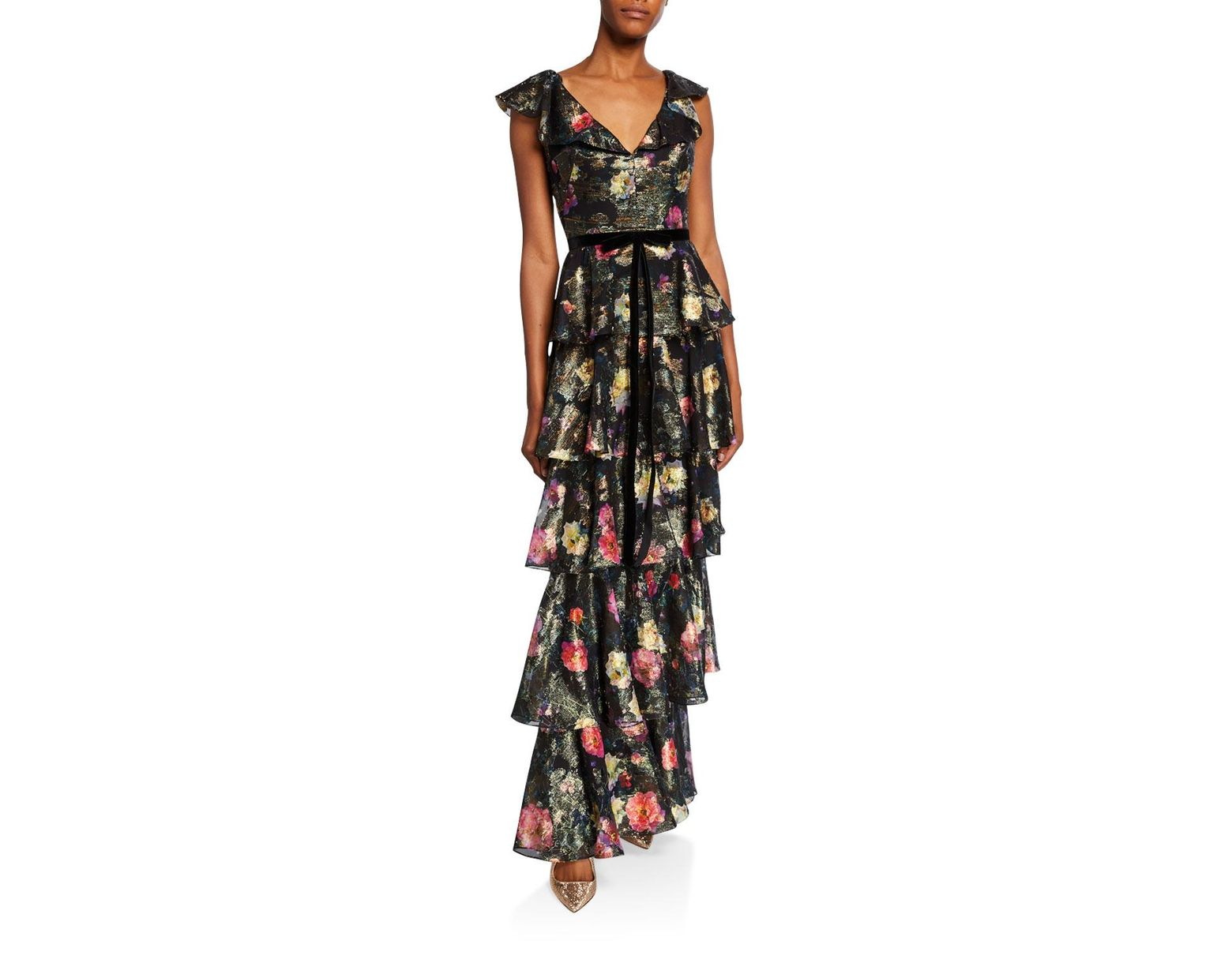 a2cda280 Marchesa notte Metallic Printed V-neck Sleeveless Tiered Fil Coupe Ruffle  Gown in Black - Lyst