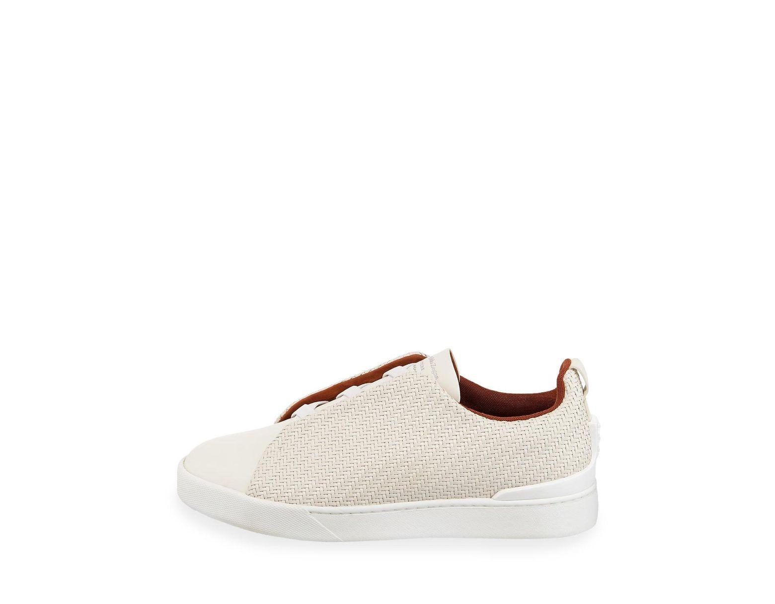 f080cf02 White Men's Triple-stitch Pelle Tessuta Low-top Sneakers