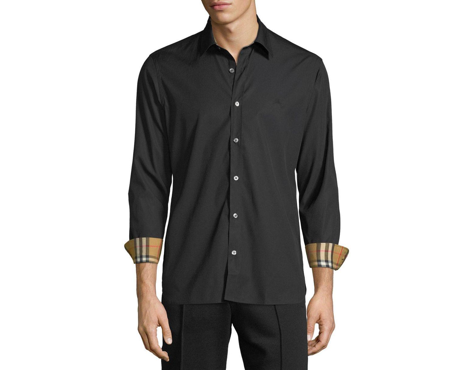 e359049d Burberry Men's William Signature Check-facing Sport Shirt in Black for Men  - Save 32% - Lyst
