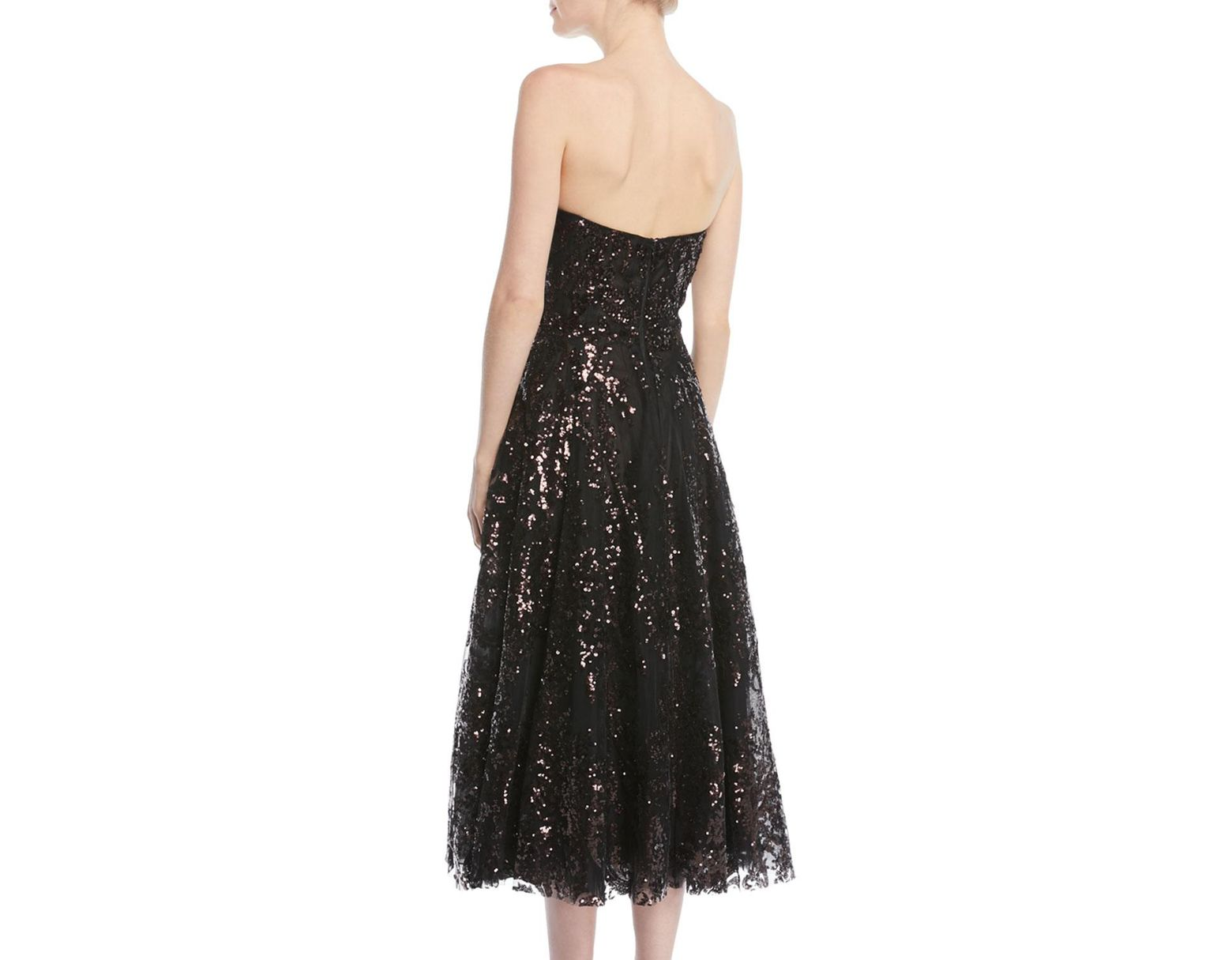 ff0cdfb699cb0 Naeem Khan Strapless Fit-and-flare Sequined Tea-length Evening Dress in  Black - Lyst
