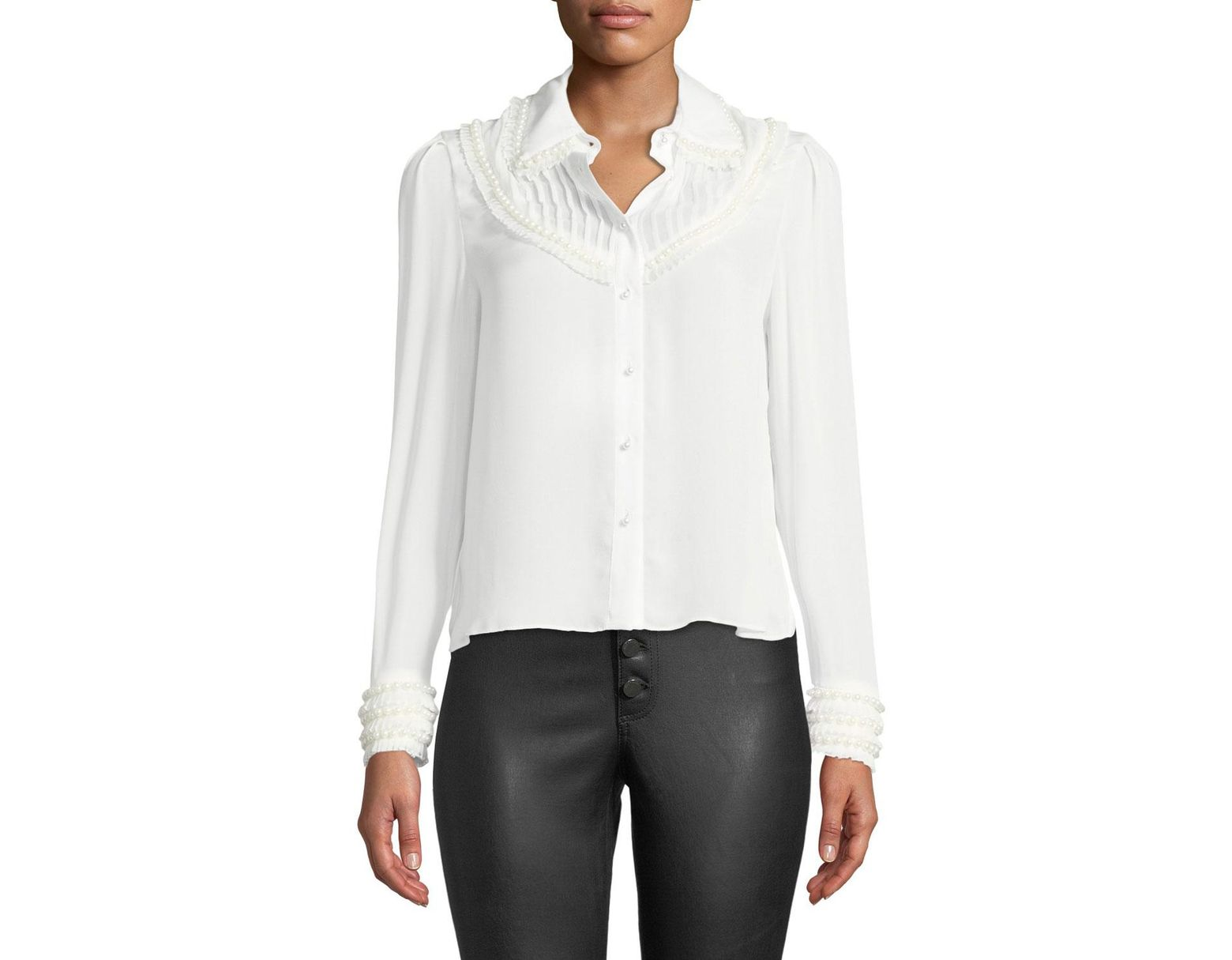 04120aa53 Alice + Olivia Noreen Pintuck Yoke Blouse in White - Save 19% - Lyst