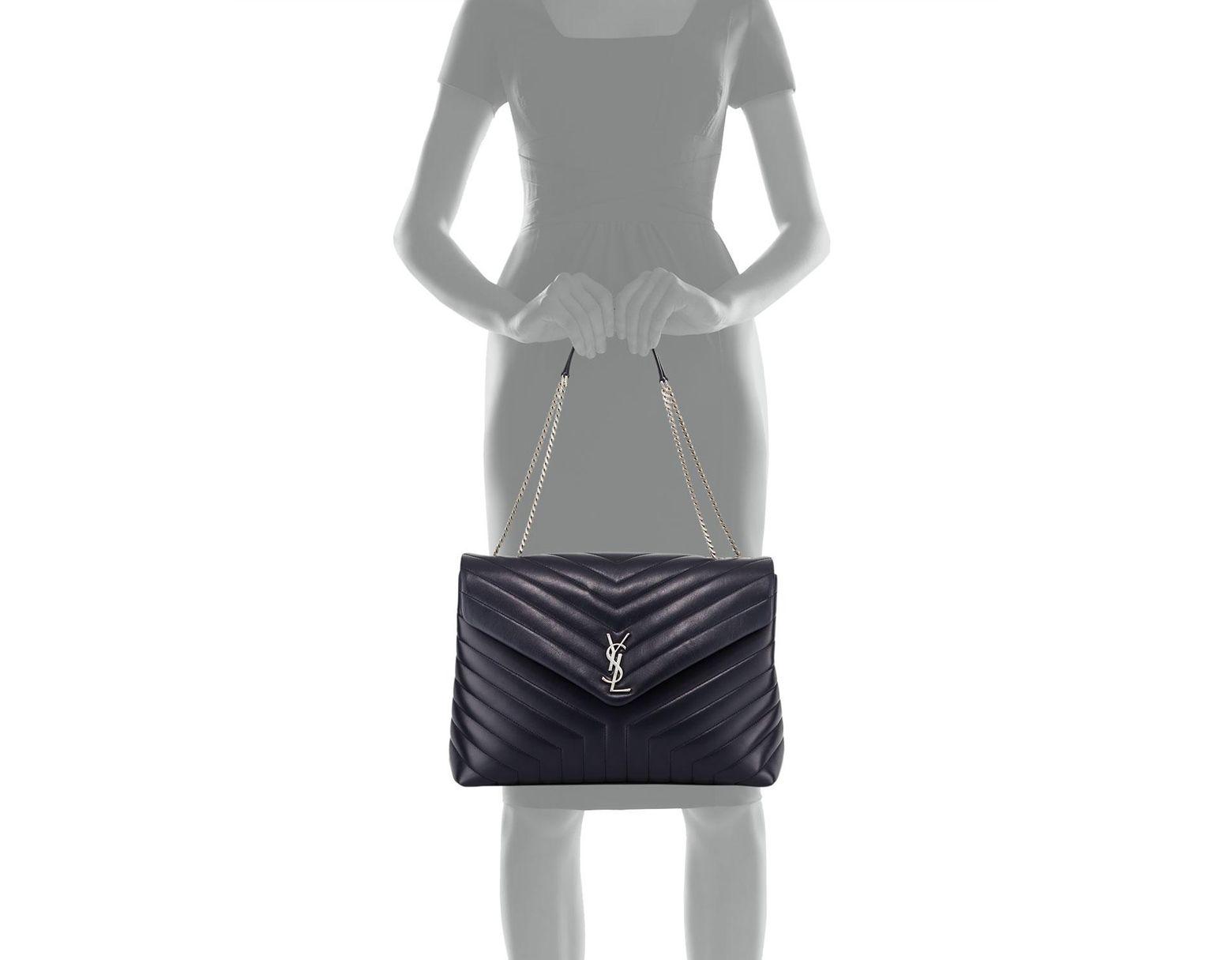 15be61a11a7 Saint Laurent Loulou Monogram Ysl Large V-flap Chain Shoulder Bag - Nickel  Oxide Hardware in Black - Save 2% - Lyst