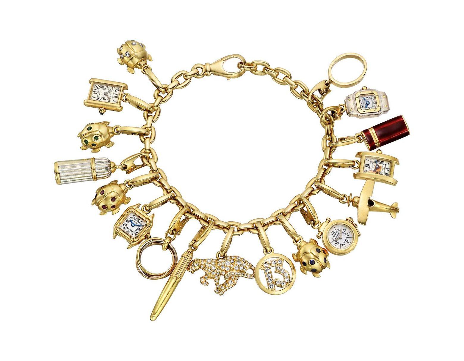 cbb58aabaecea Women's Vintage 18k Yellow Gold Charm Bracelet
