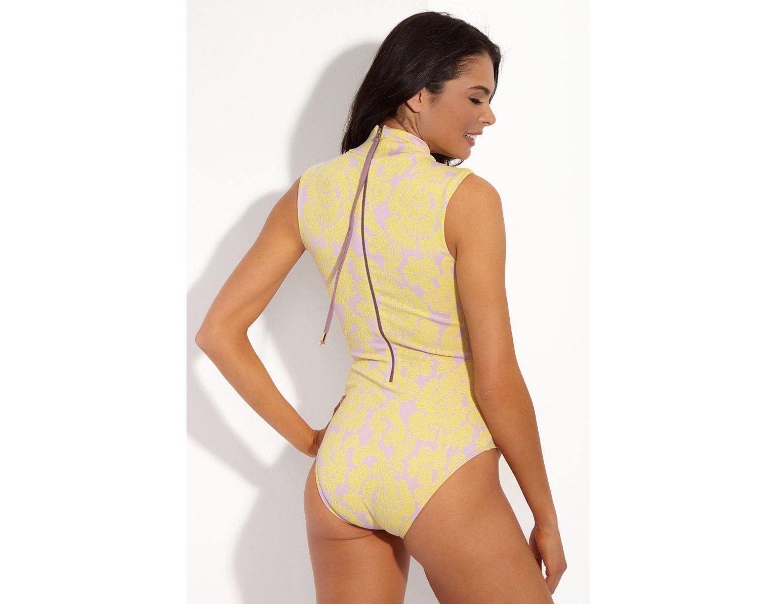 7146b90d22f Seea Leana Turtleneck Textured Sleeveless One Piece Swimsuit - Hana Print -  Lyst