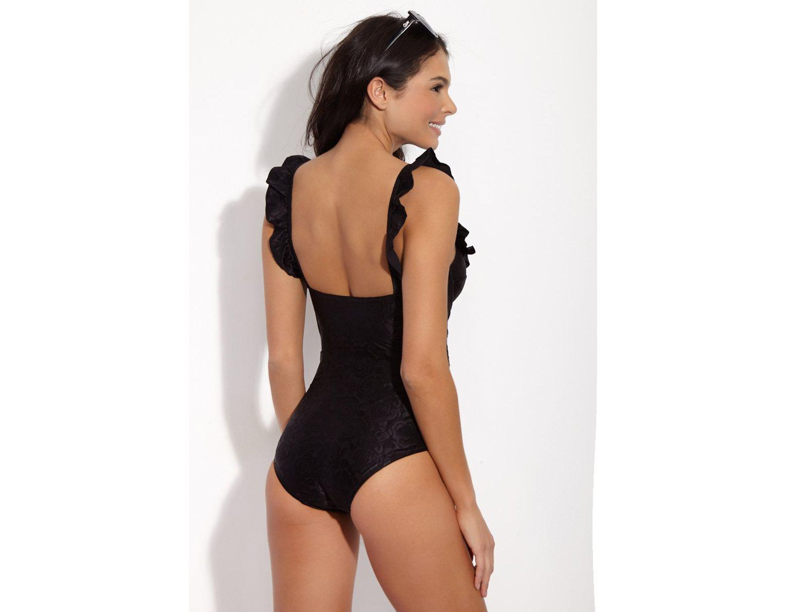 99e5002a10 Lonely Greta Jacquard Sweetheart One Piece Swimsuit - Black Rose in Black -  Lyst