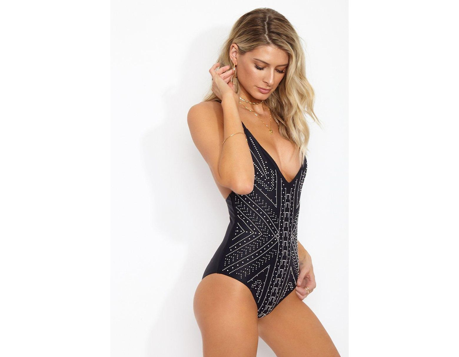 7bc176e3f4 Beach Riot Bridget Beaded Deep V One Piece Swimsuit - Black Moon Print in  Black - Save 6% - Lyst