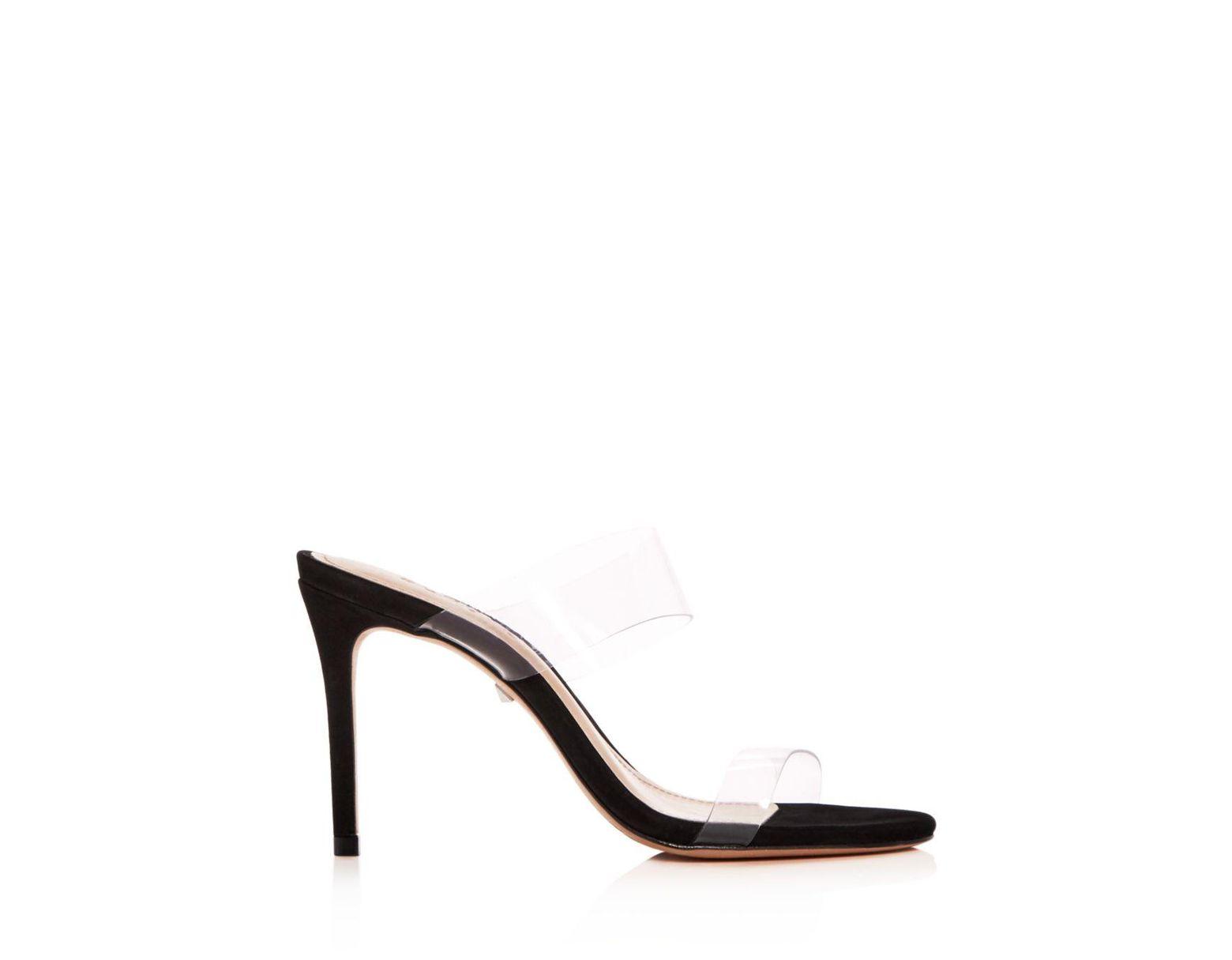 d77f84a42b Schutz Women's Ariella Clear Strap High - Heel Slide Sandals in Black -  Save 6% - Lyst