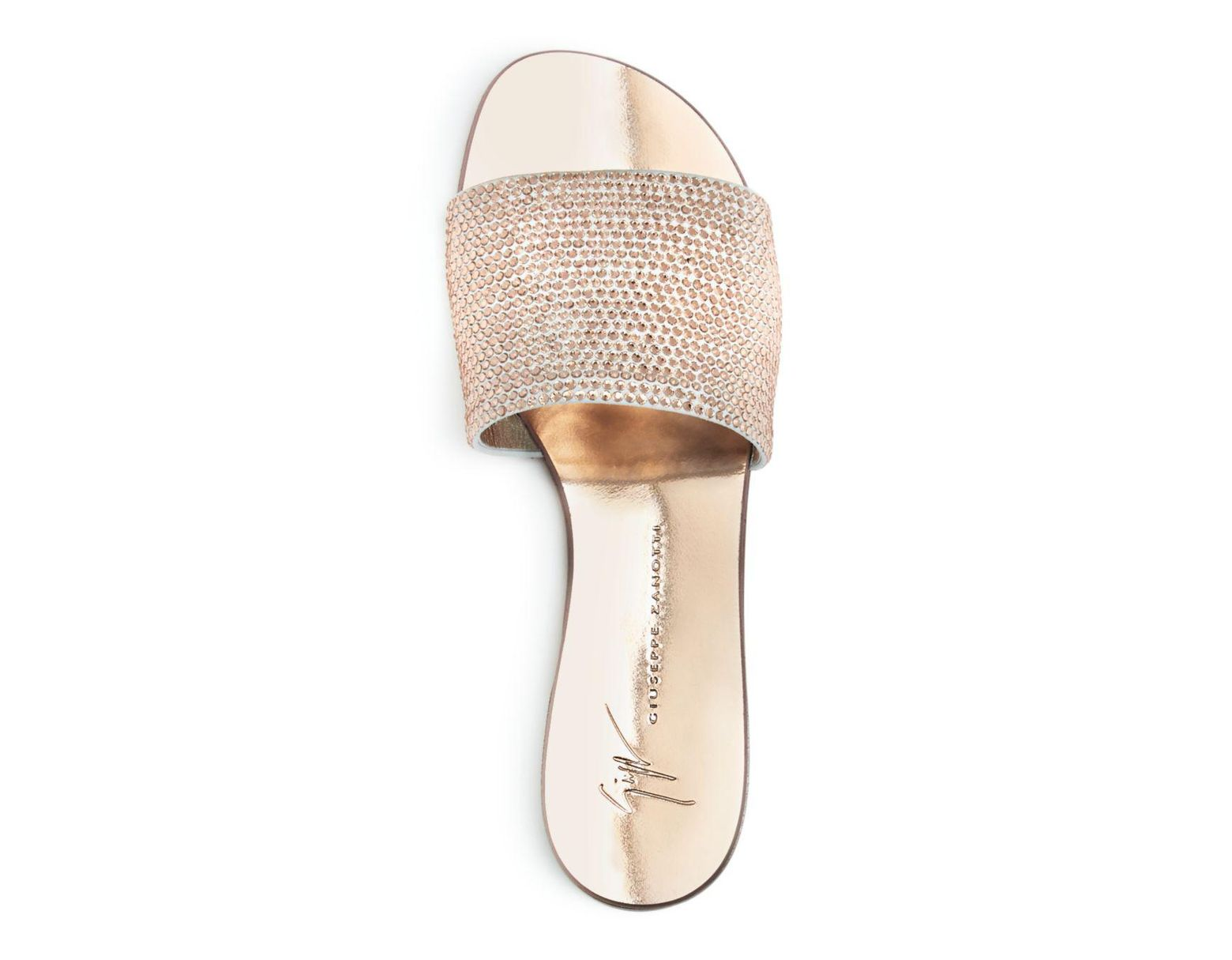 6b4d3e70cad4b Giuseppe Zanotti Women's Swarovski Crystal Embellished Slide Sandals in Pink  - Lyst