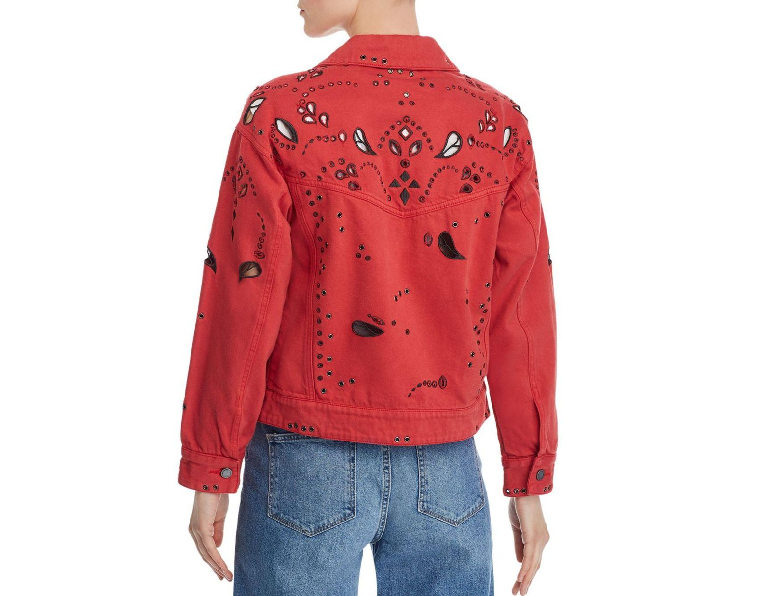 Women's Red Bandana Cropped Denim Jacket