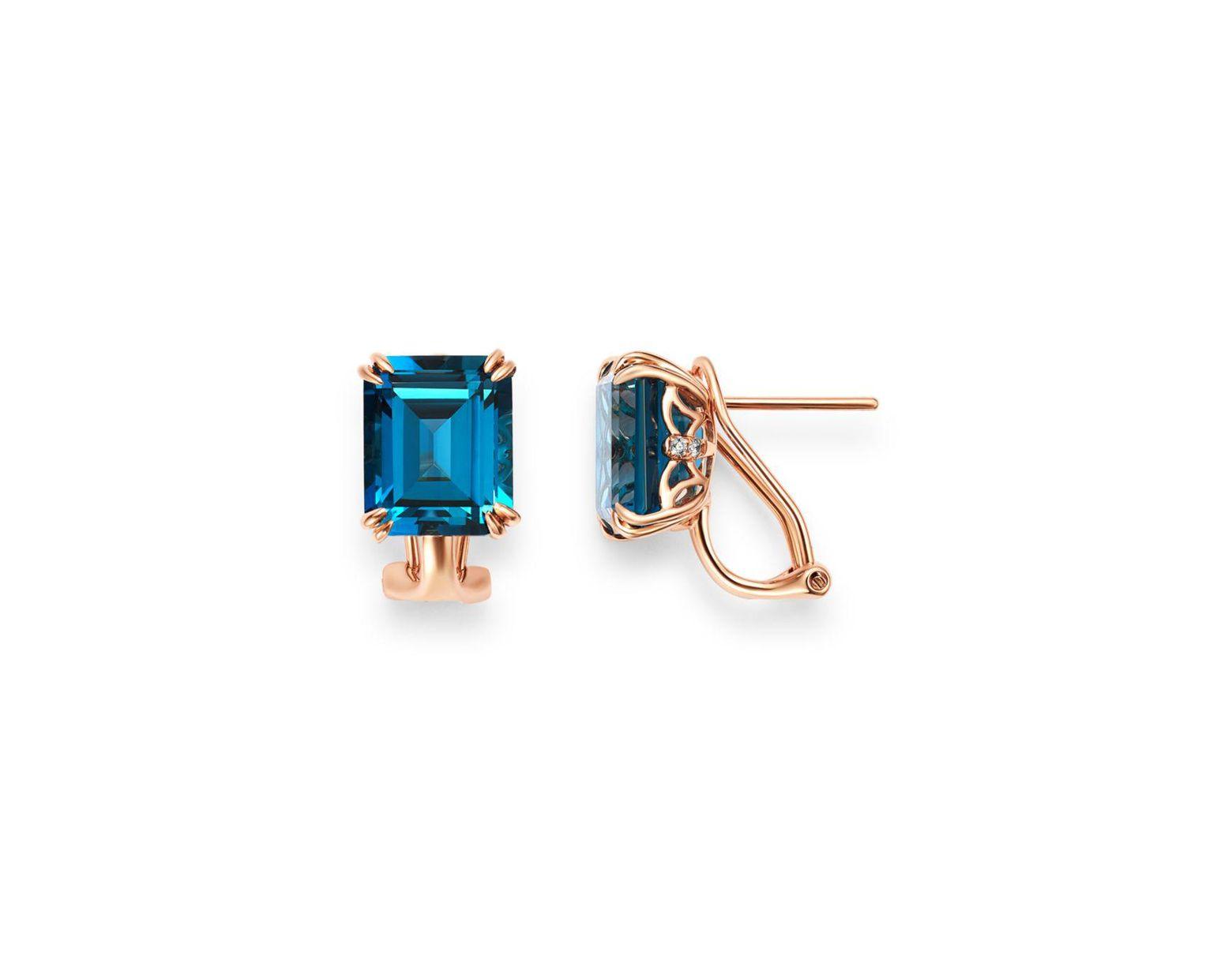 34388ef08 Bloomingdale's London Blue Topaz & Diamond Drop Earrings In 14k Rose Gold  in Blue - Lyst