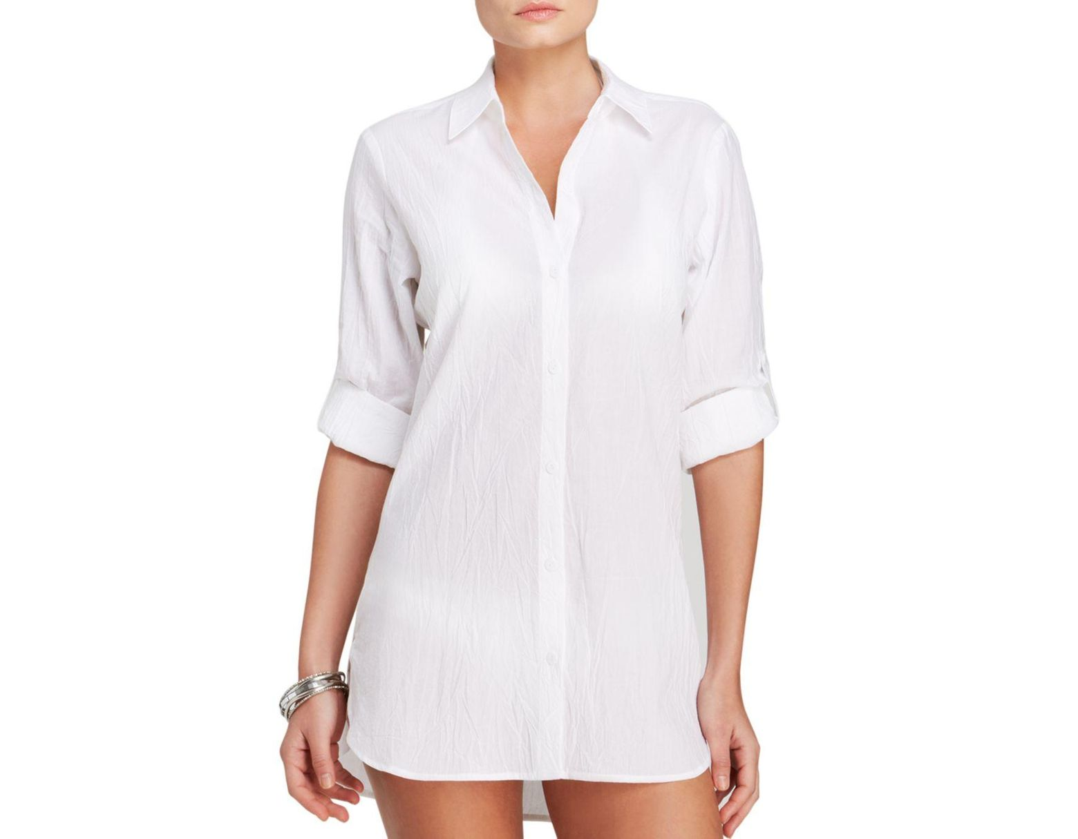 d7bcdee7b2 Tommy Bahama Crinkle Boyfriend Shirt Swim Cover - Up in White - Lyst