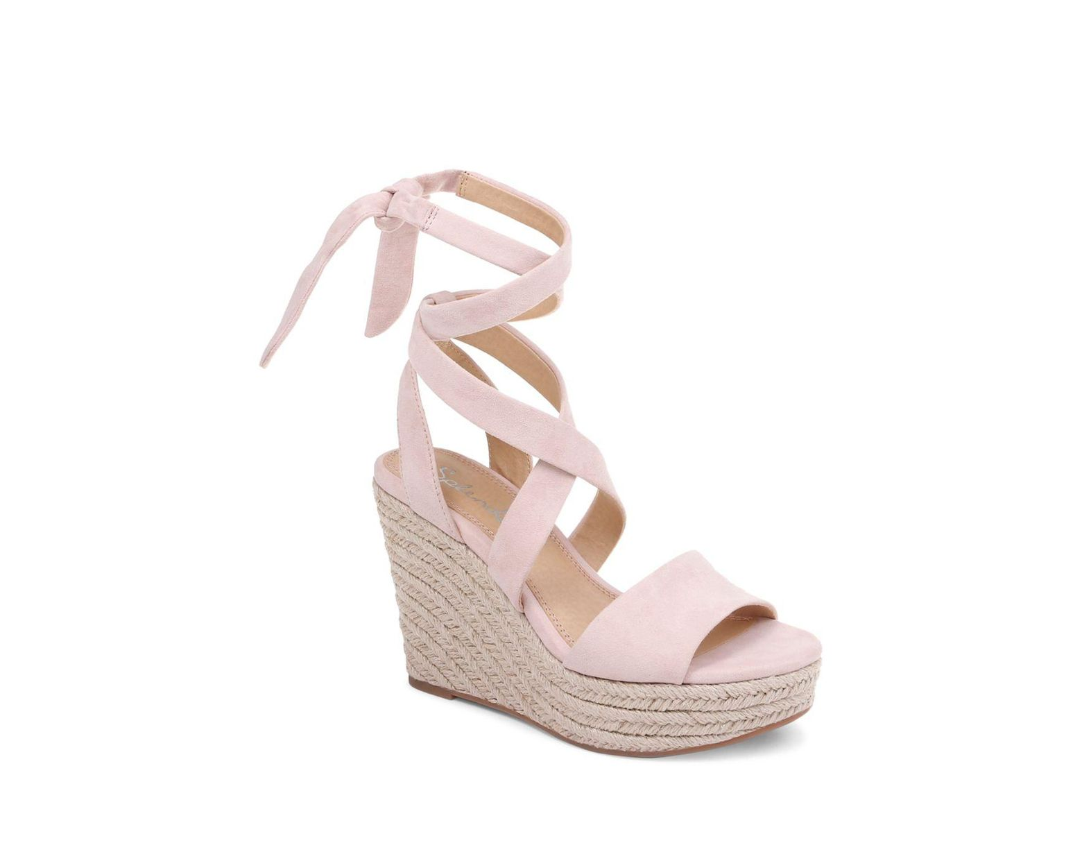 972a65076 Splendid Women's Tessie Ankle - Tie Wedge Sandals in Pink - Lyst