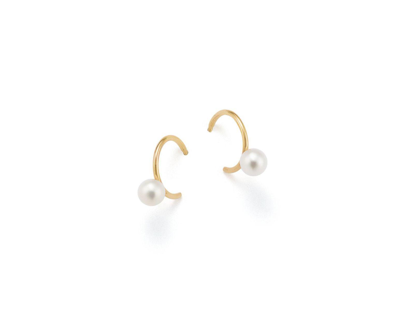 5563713e6 Zoe Chicco 14k Yellow Gold   Cultured Freshwater Pearl Huggie Hoop Earrings  in Metallic - Lyst