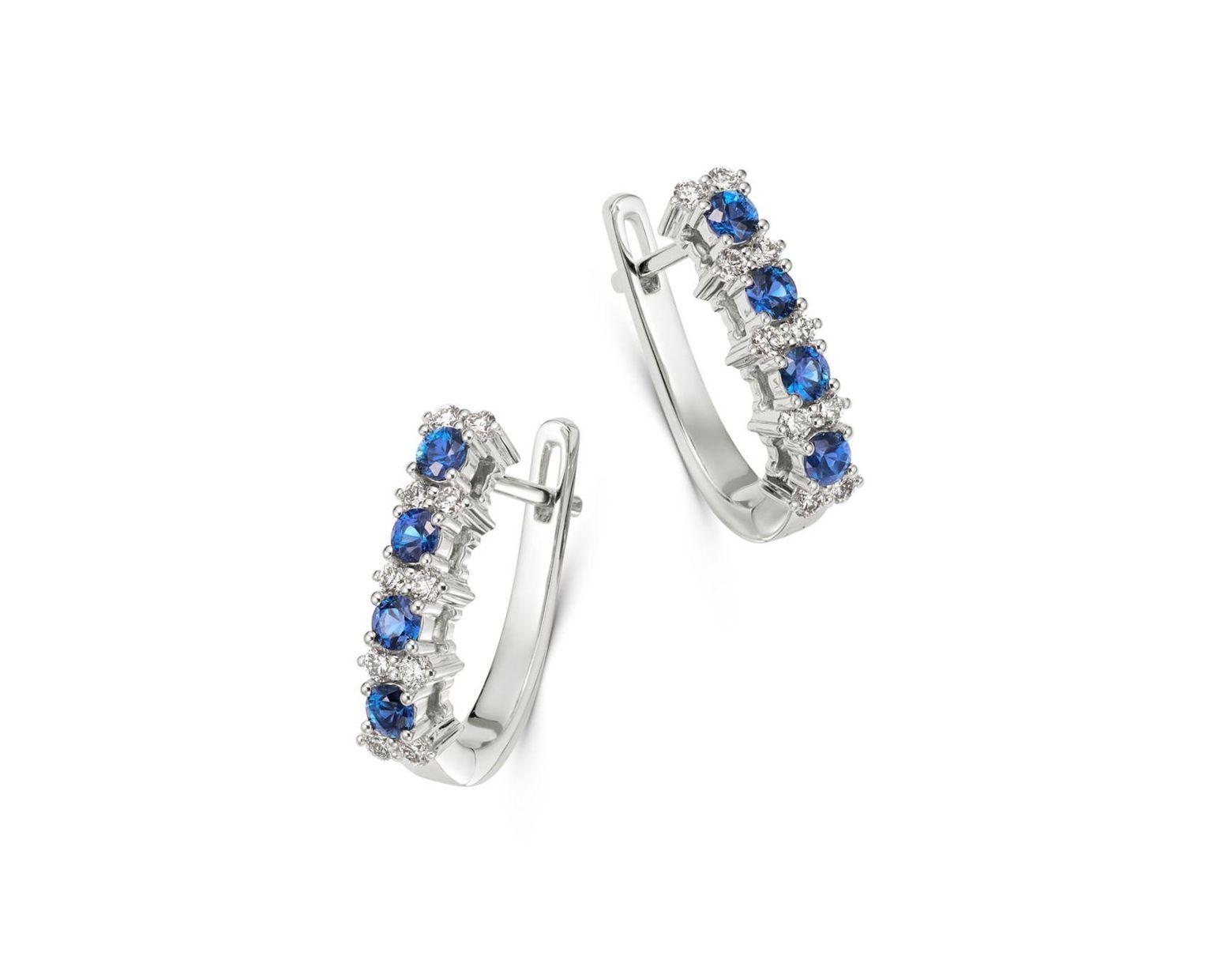 4e951d65c348d Women's Diamond & Blue Sapphire Oval Hoop Earrings In 14k White Gold