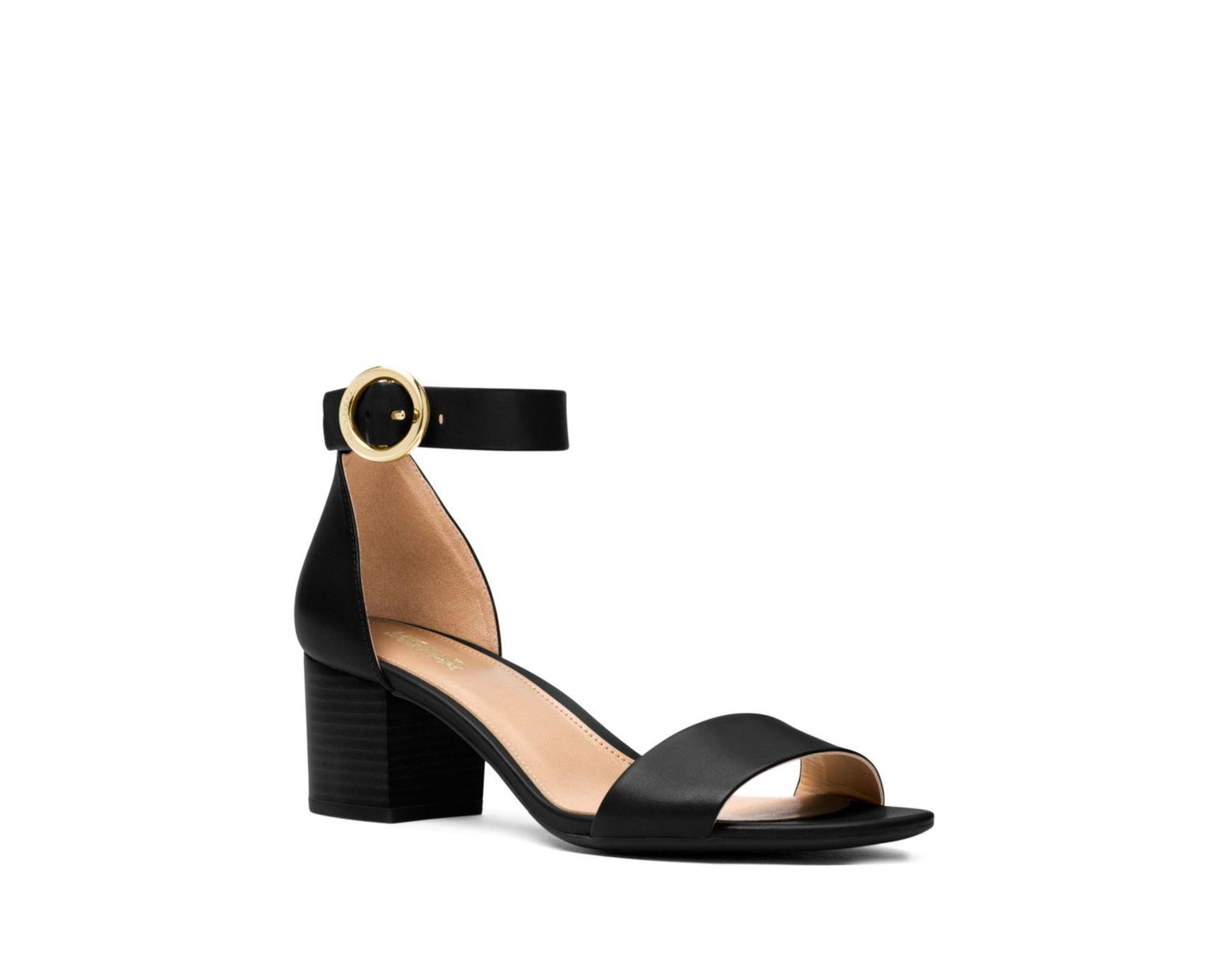 08d29f16deb Women's Black Michael S Lena Leather Open Toe Special Occasion Ankle Stra.