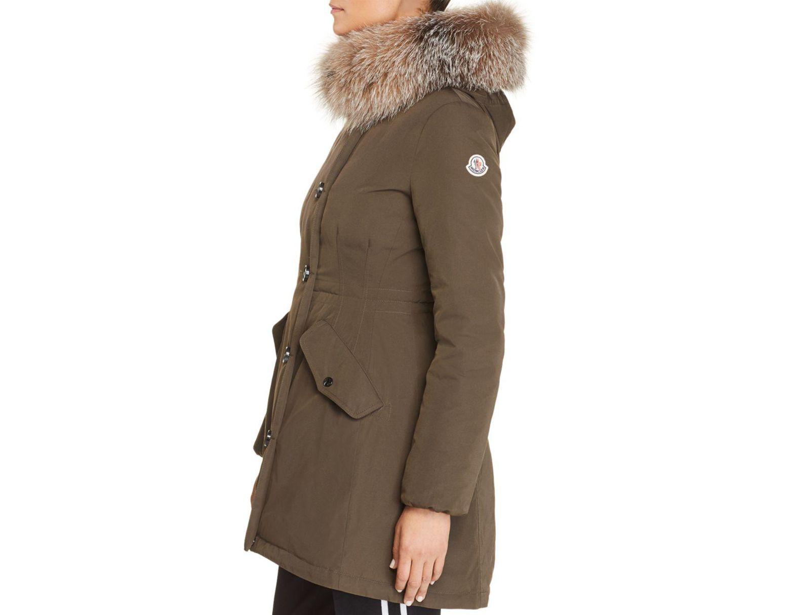 d0c67c15c Women's Green Monticole Fur Trim Down Coat