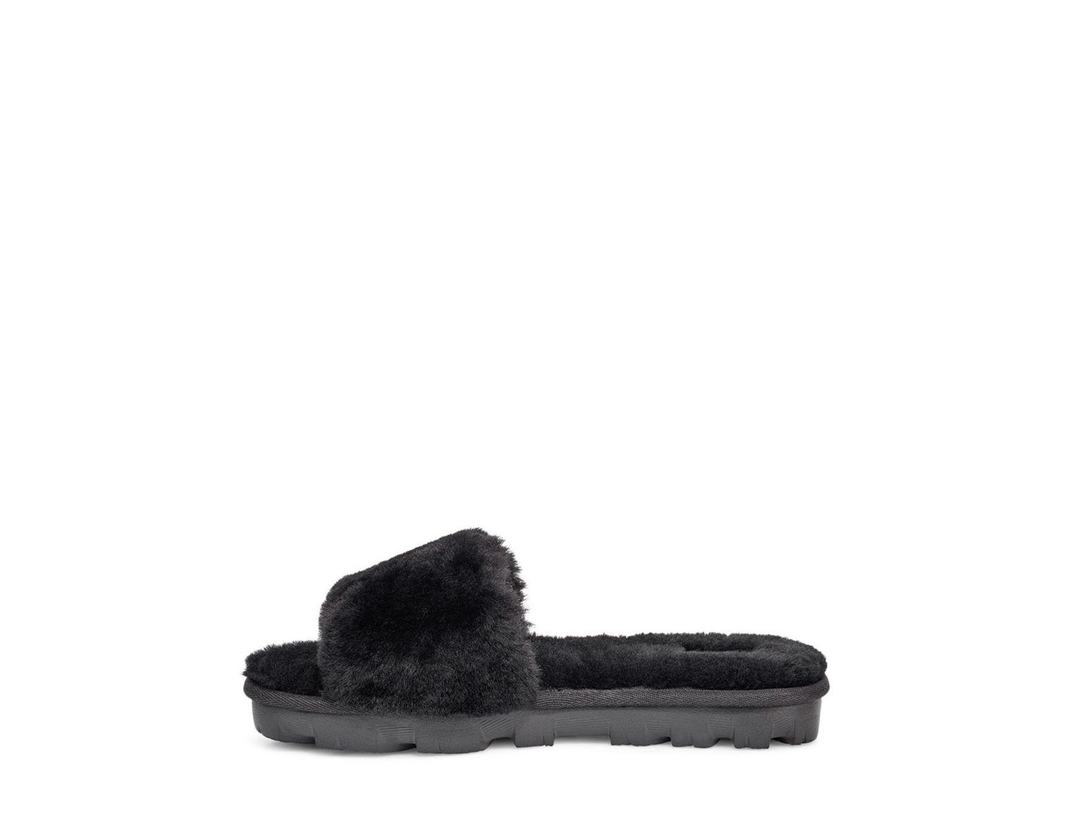 548e29d16 UGG Women's Cozette Fur Slide Sandals in Black - Lyst