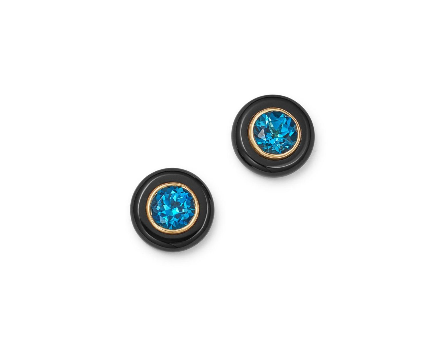 Women S London Blue Topaz Black Onyx Stud Earrings In 14k Yellow Gold