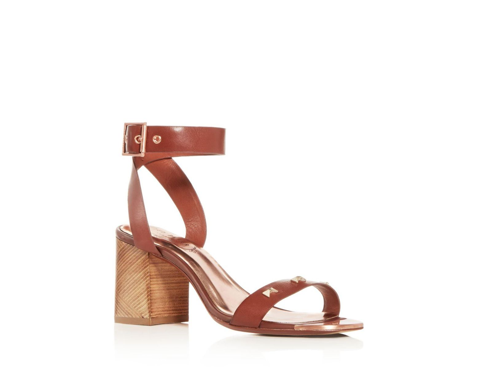 c69a23feefb1 Lyst - Ted Baker Women s Biah Studded Block-heel Sandals in Brown