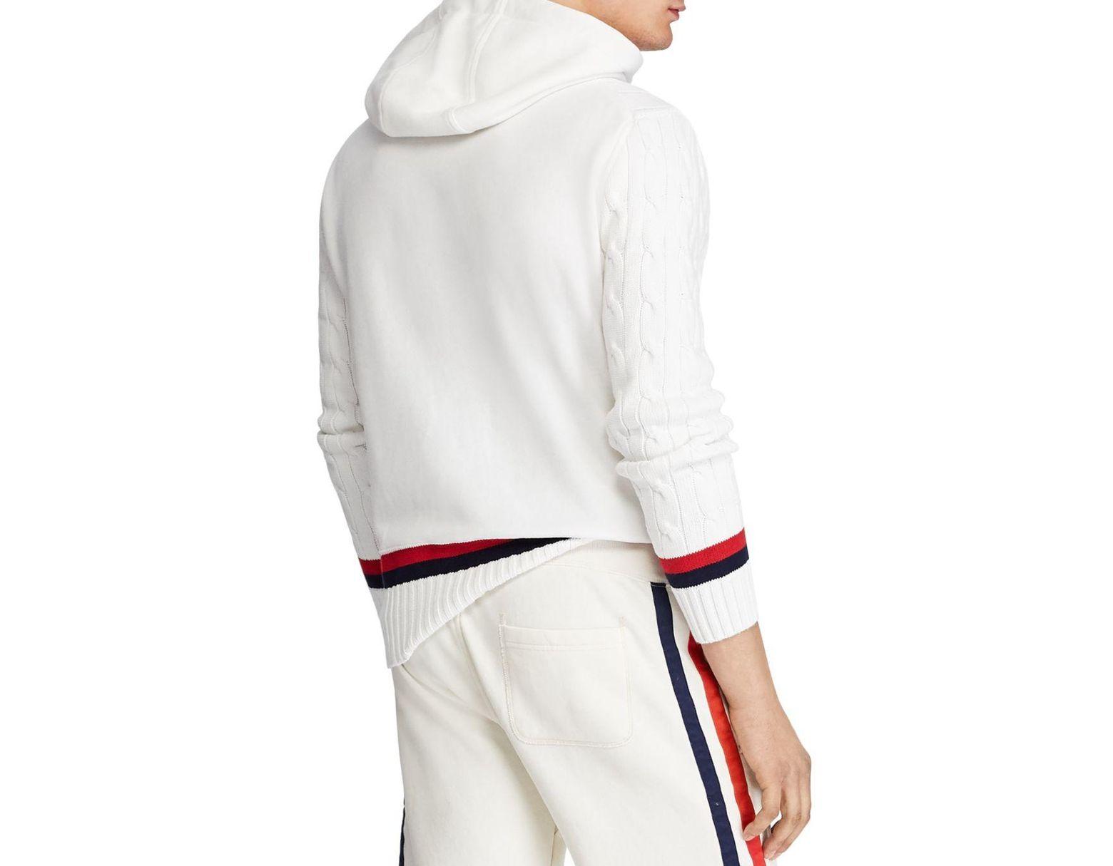 7a27e2d995 Polo Ralph Lauren Cricket Hybrid Hooded Sweater in White for Men - Lyst