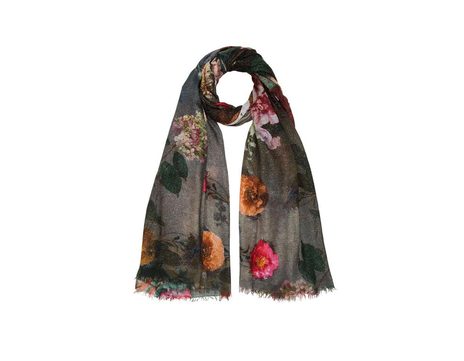 5ddfa1ed0f Women's Flowers Scarf Dark Sparkly Gray With Dark Jewel Tone Flowers