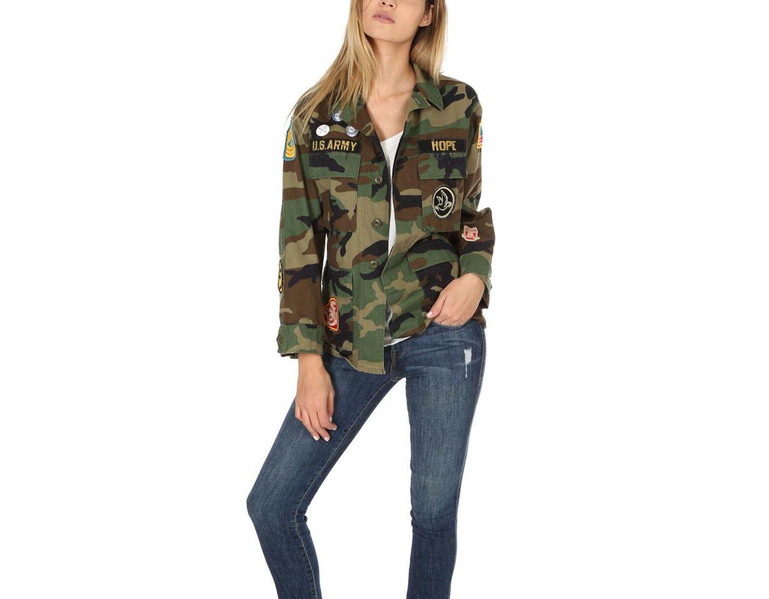 8446d1452fd Madeworn Rock Madeworn Make Love Not War Jacket in Green - Lyst
