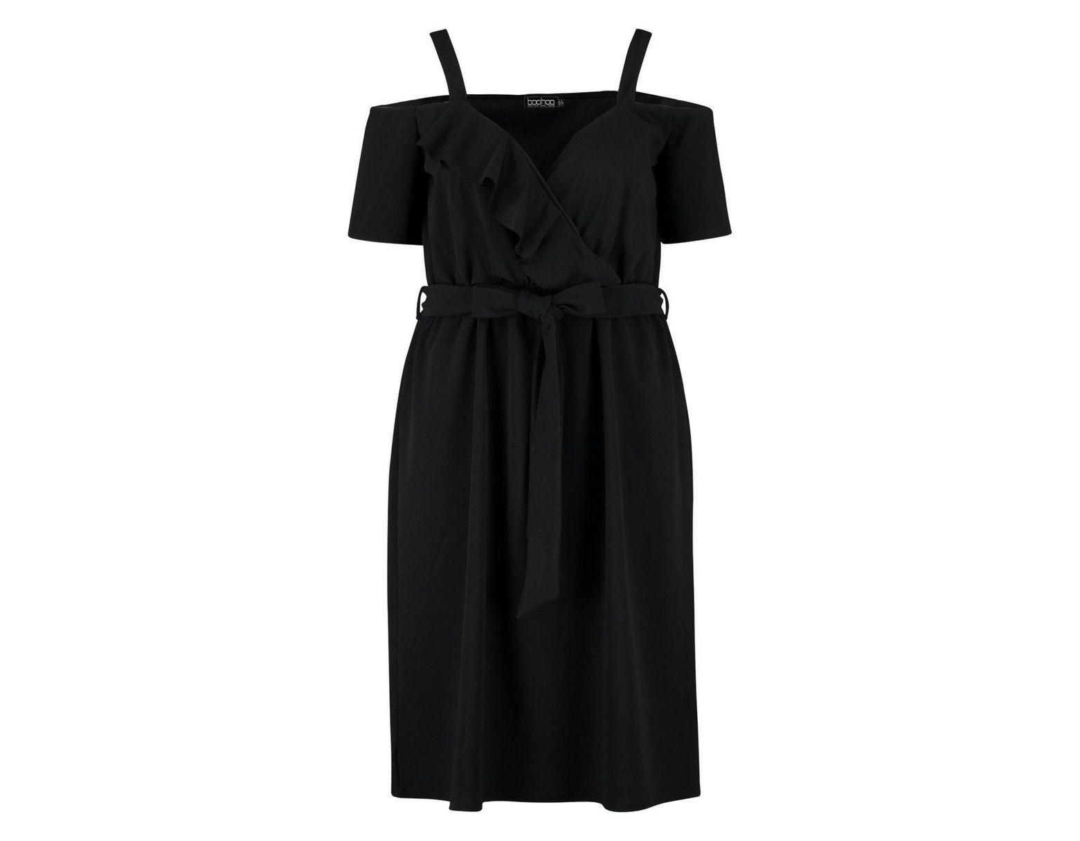 cf61cc2e5907 Boohoo Plus Plunge Ruffle Belt Midi Dress in Black - Lyst