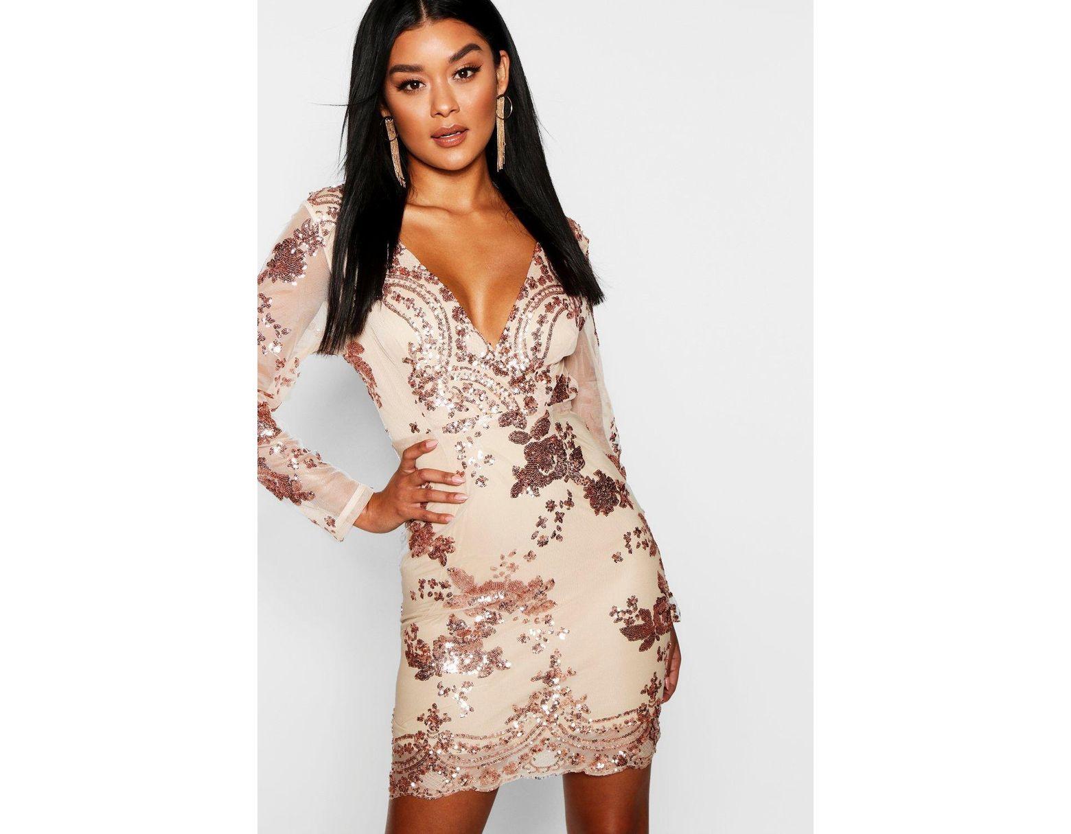 1cf75c376e Boohoo Boutique Sequin Print Mesh Bodycon Dress in Metallic - Lyst