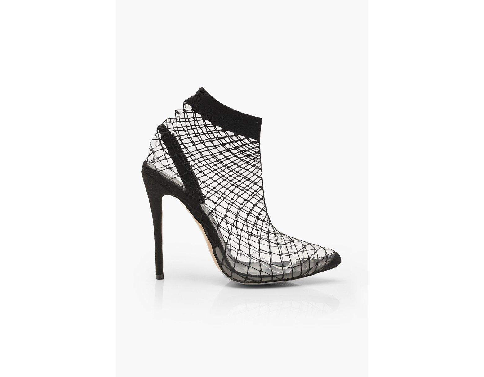 6475828d3c Boohoo Fishnet Slingback Pointed Toe Heels in Black - Lyst