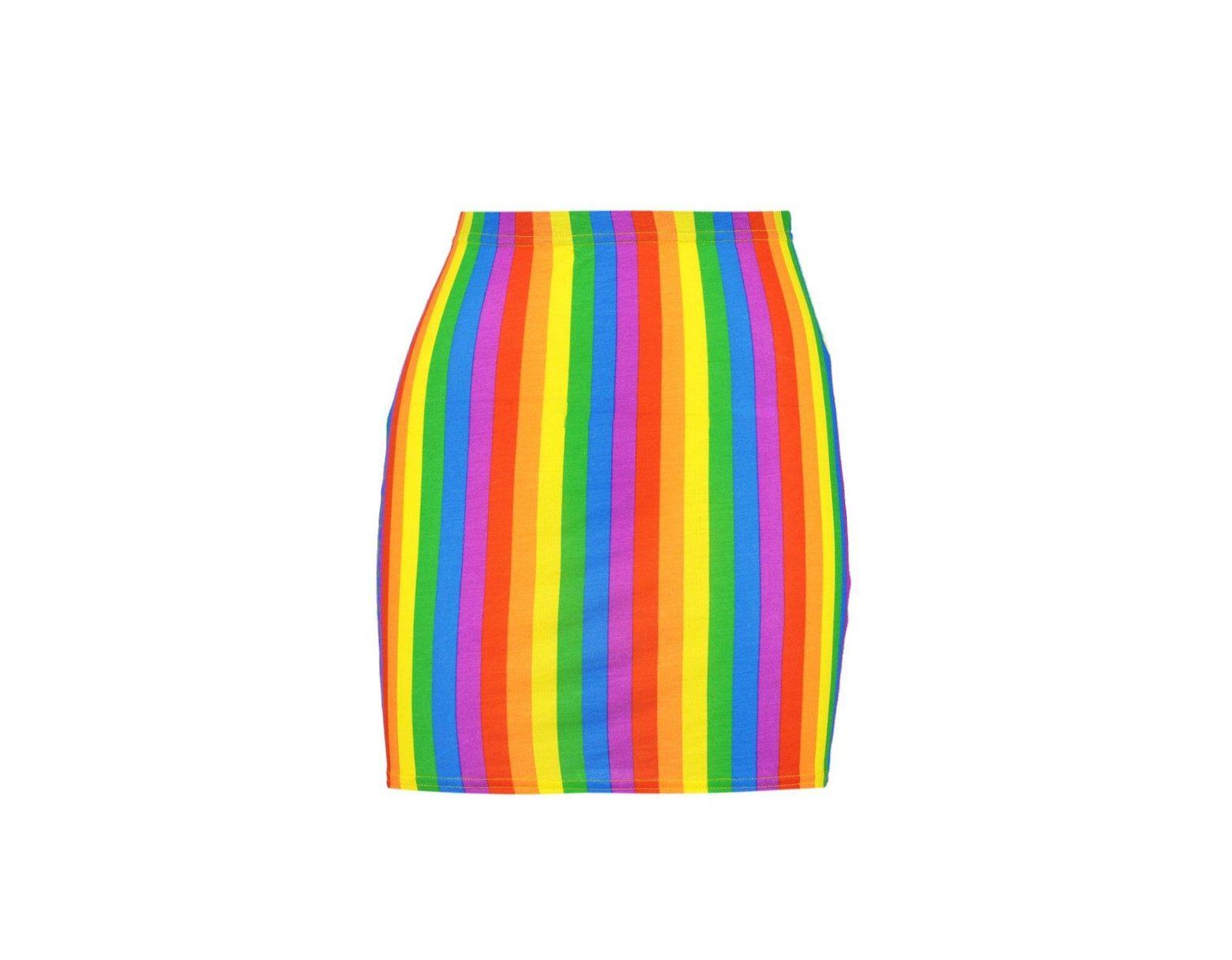 85d7451ac021 Boohoo Rainbow Bodycon Mini Skirt - Lyst