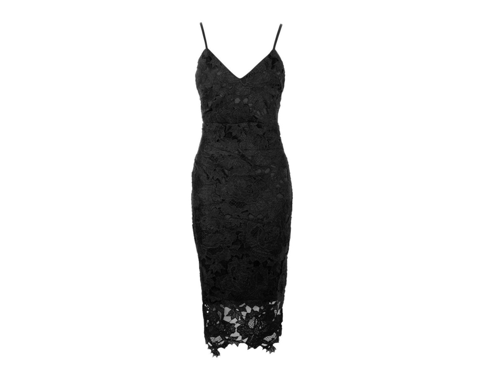 905400abde54 Boohoo Boutique Crochet Lace Strappy Midi Dress in Black - Lyst