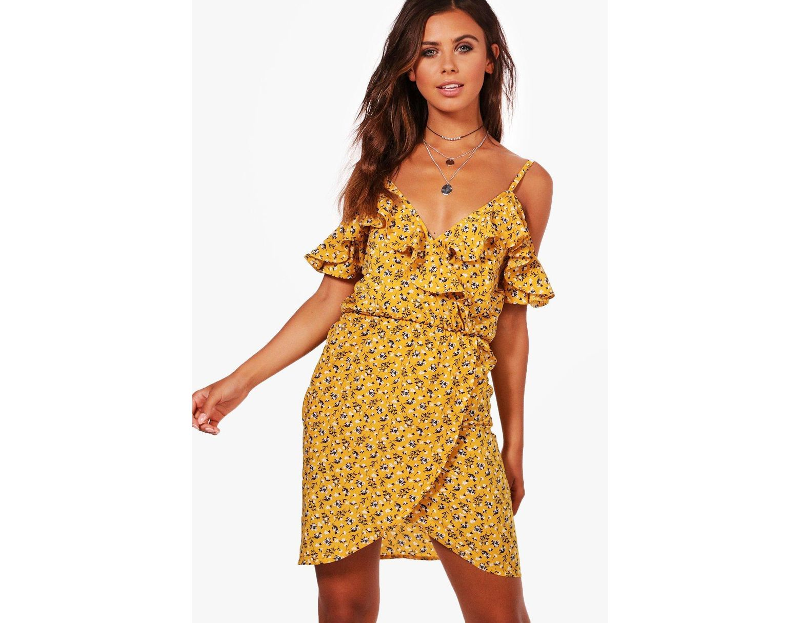 2fa76f60ac29 Boohoo Petite Ruffle Floral Wrap Tea Dress in Yellow - Lyst