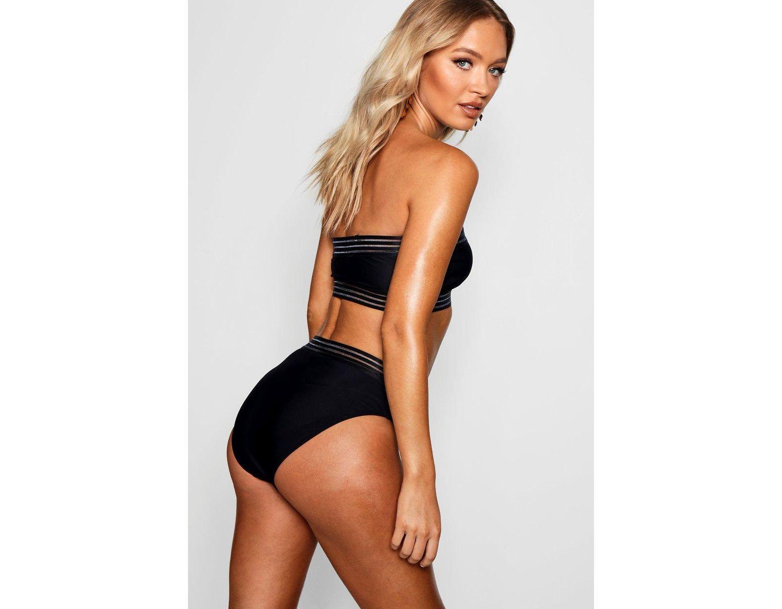 d4a87eb23ffff Boohoo Cape Verde Mesh Detail Bandeau High Waisted Bikini in Black - Lyst