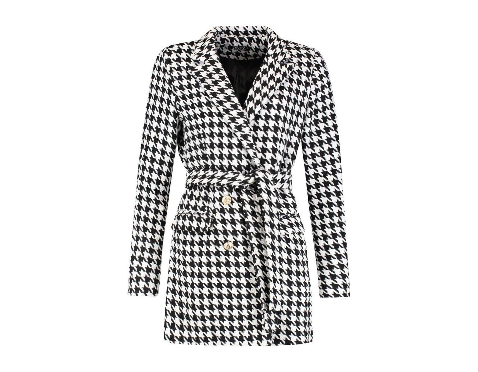 3713ab68f8e5 Boohoo Heavy Tweed Effect Tailored Blazer Dress in Black - Lyst