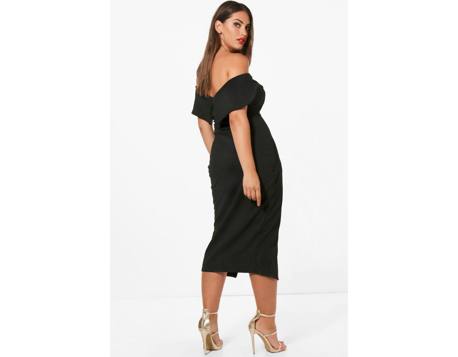 288c171a0822 Boohoo Plus Off The Shoulder Wrap Midi Dress in Black - Lyst