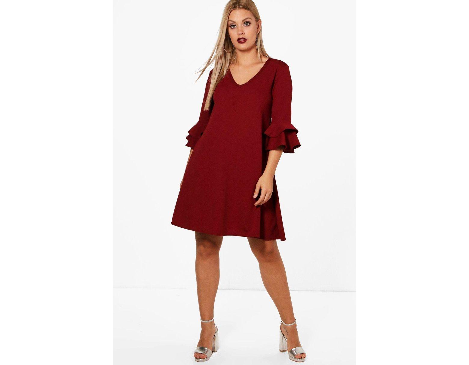 713d3bdbfd39 Boohoo Plus Crepe Ruffle Sleeve Shift Dress in Red - Lyst