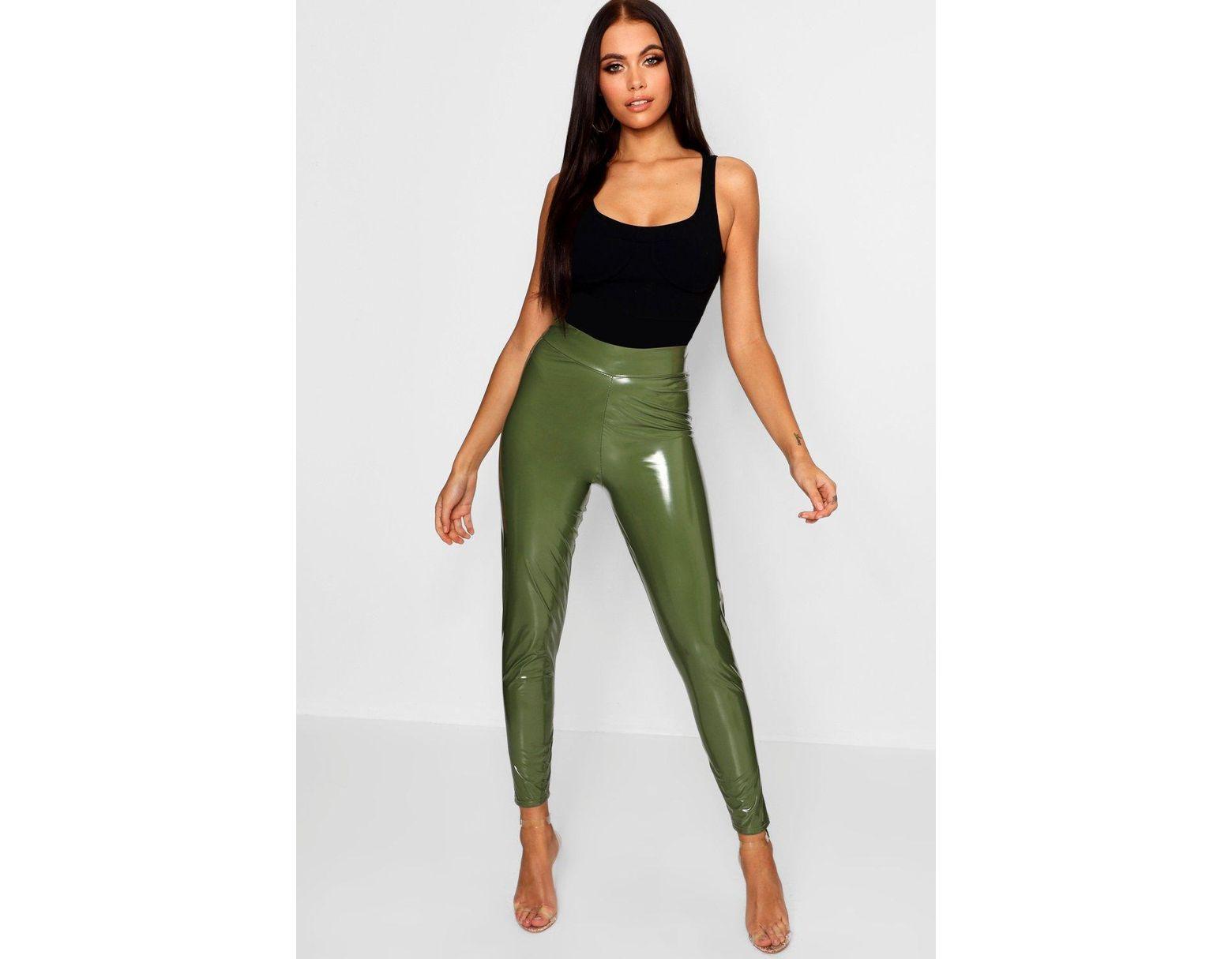 e85d4fd51b0aa2 Boohoo Vinyl High Waist Leggings in Green - Lyst