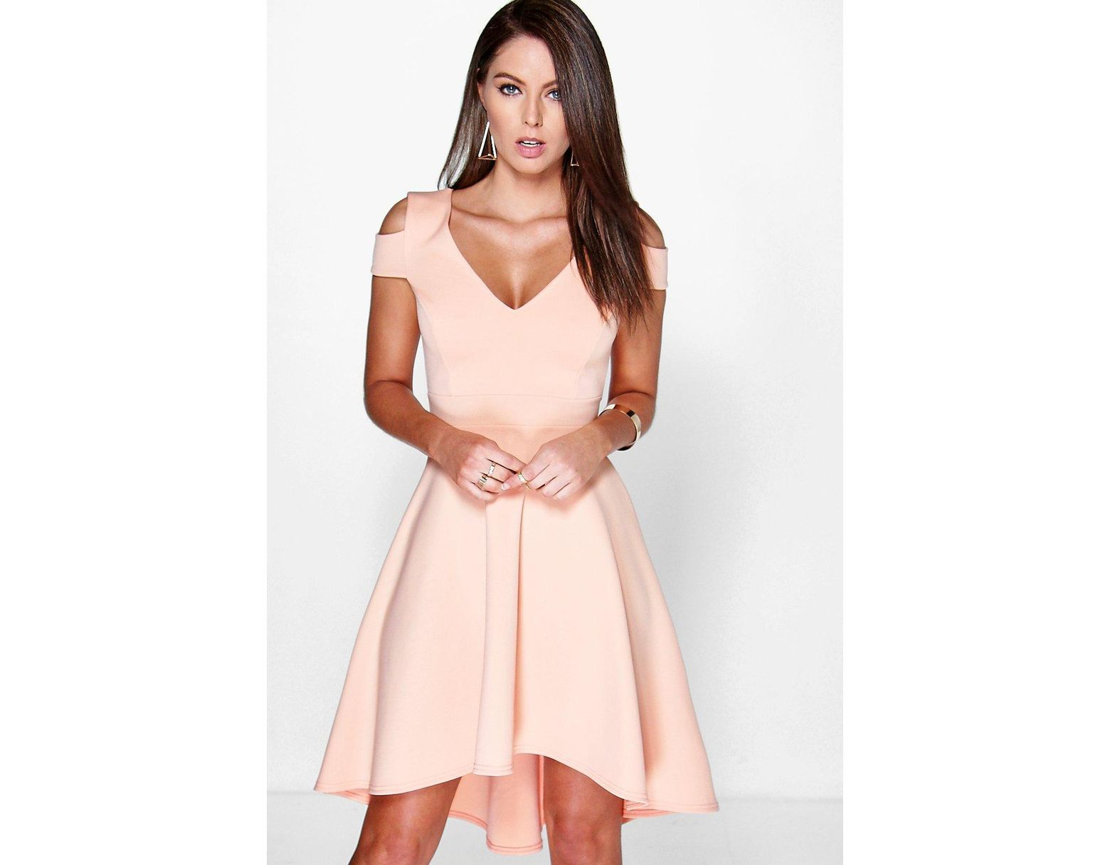 85abbaa576f0 Boohoo Bardot Plunge High Low Skater Dress in Natural - Lyst