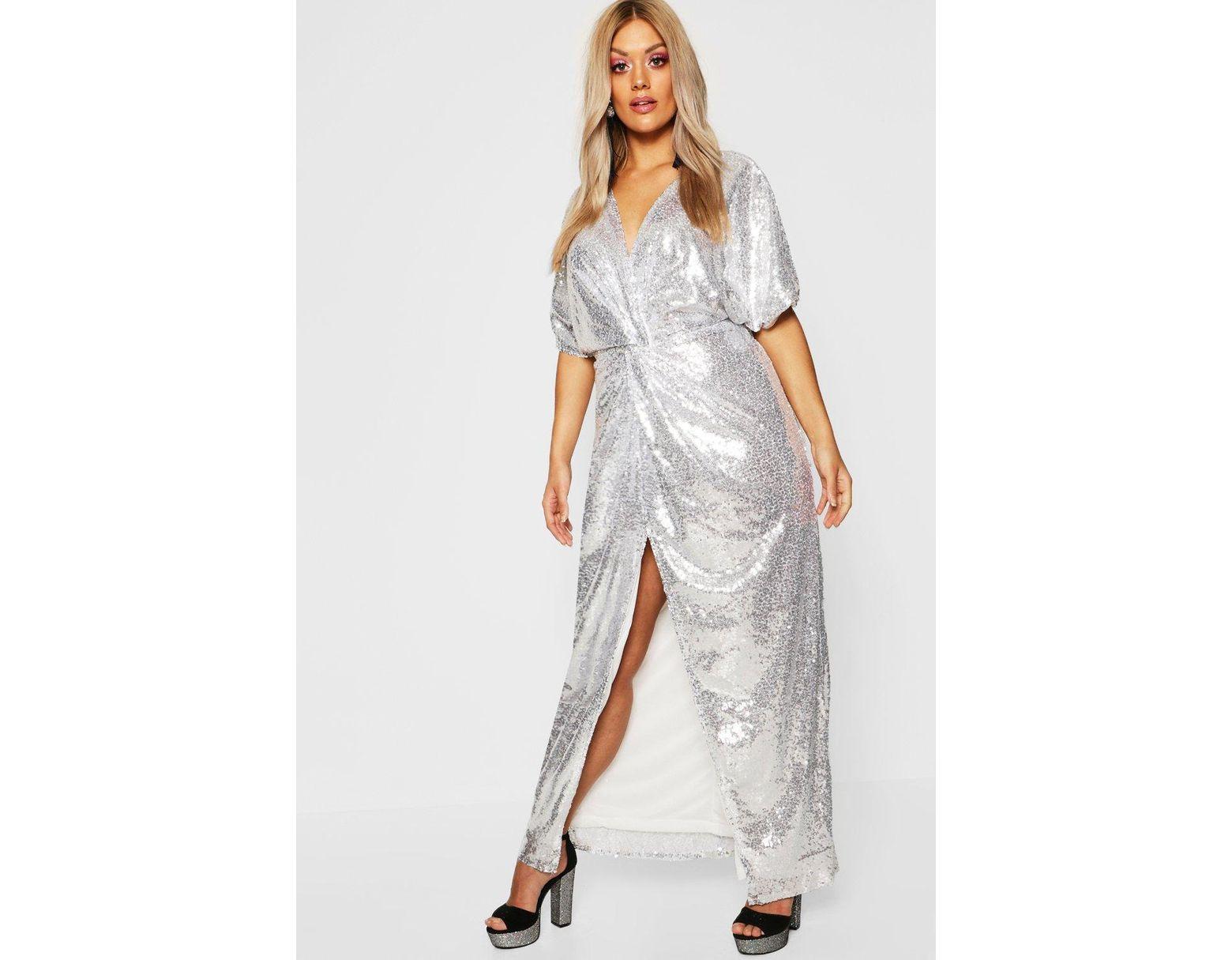 pretty cool special section cheaper Boohoo Gemma Collins Kimono Twist Sequin Maxi Dress in ...