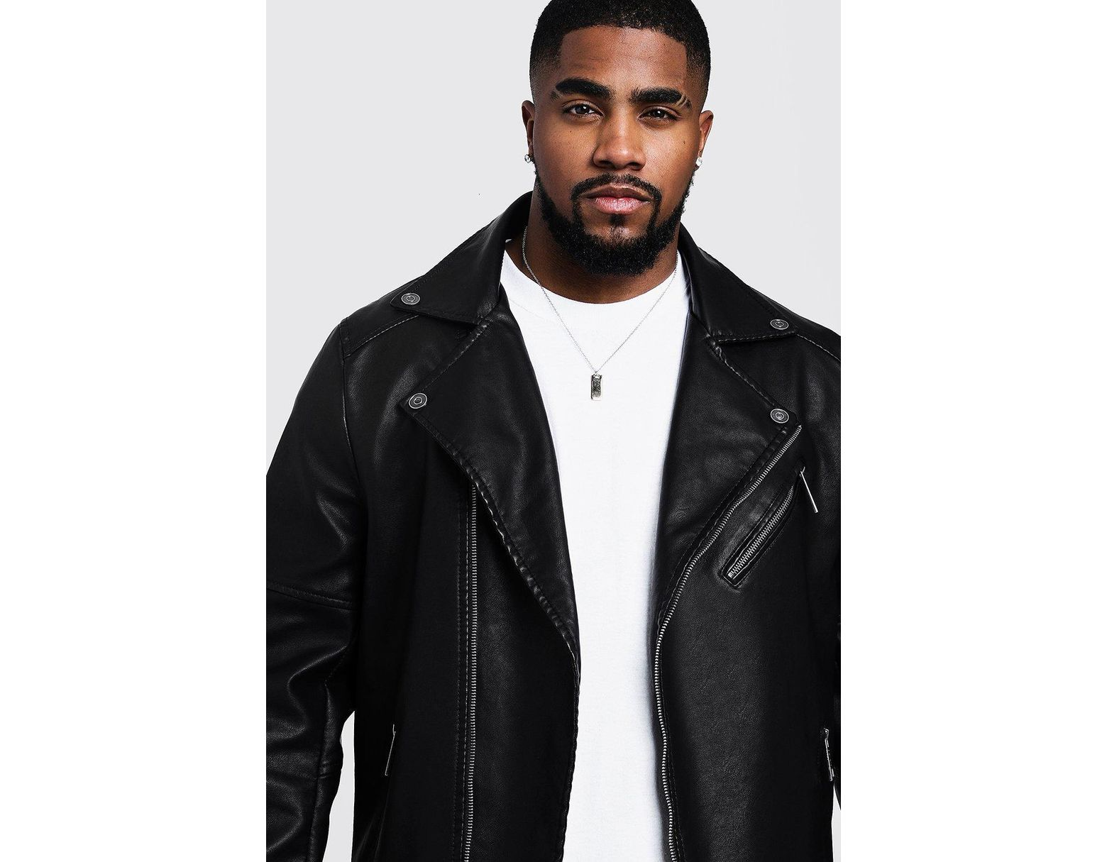 dcfdc4114 BoohooMAN Big And Tall Faux Leather Biker Jacket in Black for Men - Lyst