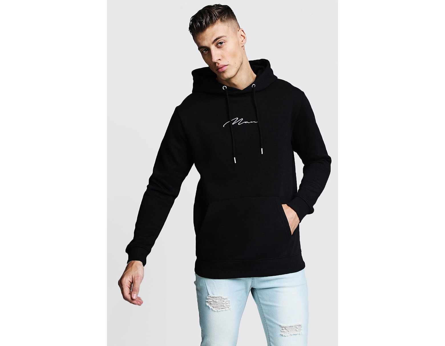 c1efa05363 BoohooMAN Oversized Man Signature Hoodie in Black for Men - Save 72% - Lyst