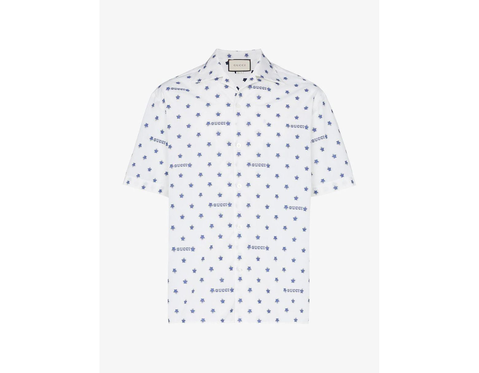 44be155ba979 Gucci Star And Logo Print Cotton Shirt in White for Men - Lyst