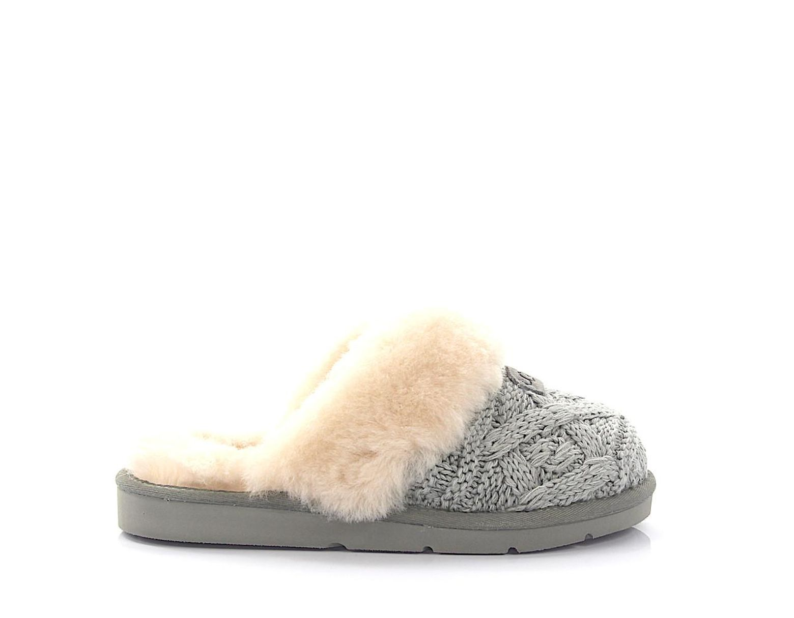 28562e1e707 Women's House Slippers Cozy Cable Knitted Gray Lamb Fur