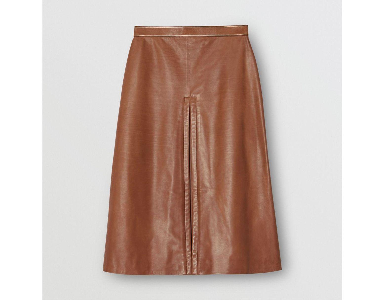 7f9ea61f3ec5c3 Jupe trapèze en cuir à plis ronds femme de coloris marron