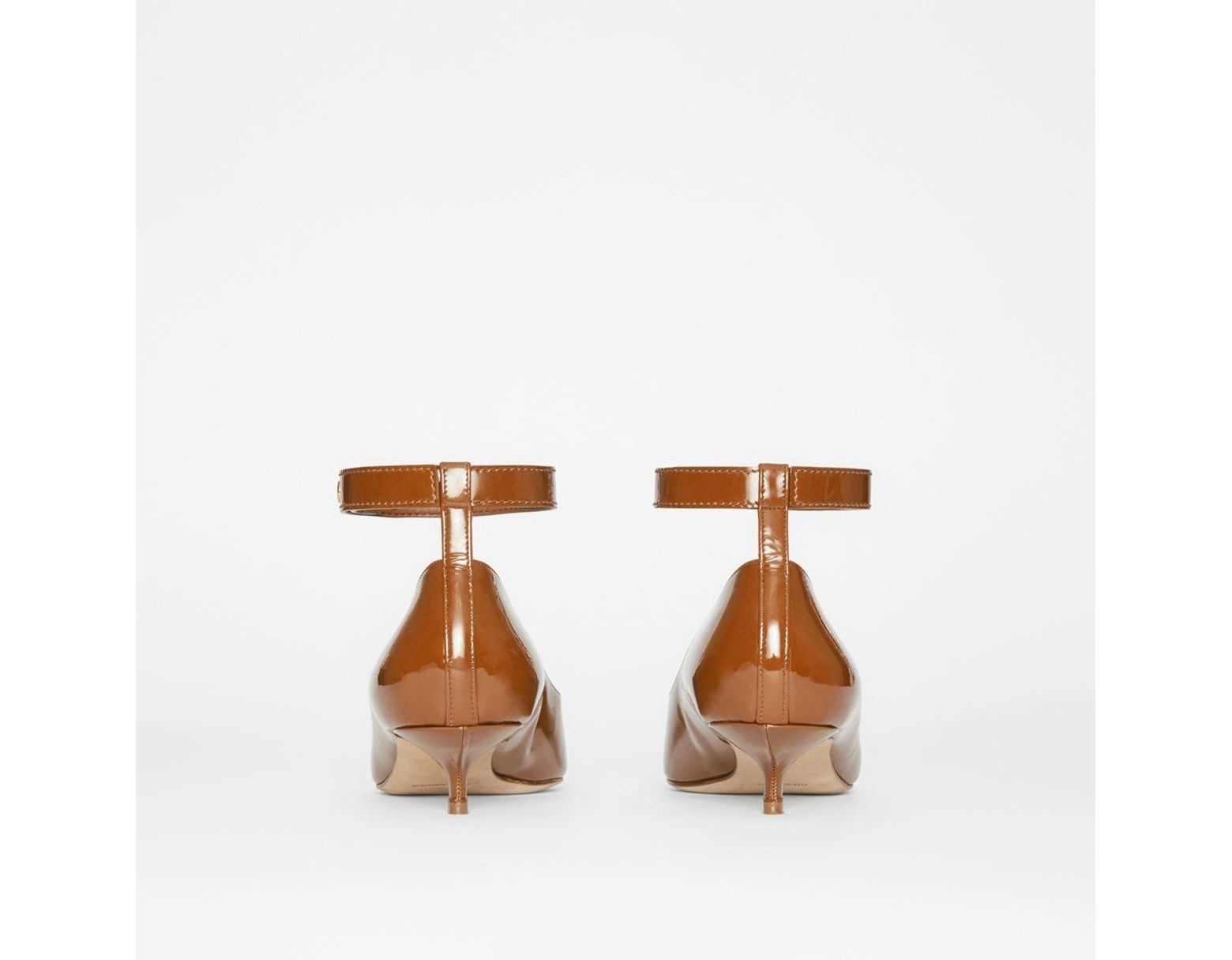 b9b6fe65cc Burberry Patent Leather Peep-toe Kitten-heel Pumps in Brown - Lyst